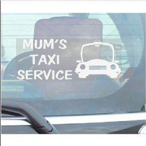 1 x Mums Taxi Service-Car Window Sticker-Fun,Self Adhesive Vinyl Sign for Truck,Van,Vehicle